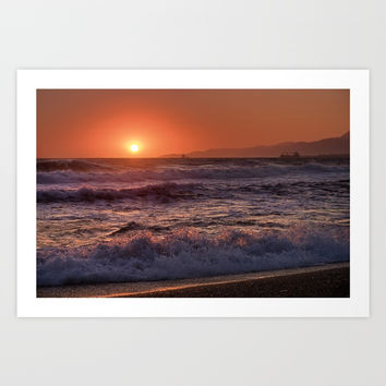 Beautiful Waves At Sunset. Art Print by Guido Montañés