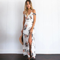 2017 Summer Fashion Off-the-shoulder Floral Printed Long Slit Maxi Dress V-neck Dress [10496932367]