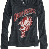 AEO Women's Ohio State Vintage Long Sleeve T-shirt (Charcoal)