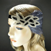 Bridal Fascinator, 1920's Headpiece, Flapper Headband, Great Gatsby Wedding Hair Accessories, Silver & Black Beaded Gray Feather Fascinator