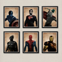 Superheroes Thor, Captain America, Iron Man, Superman, Spiderman, Batman Poster Set / Print High Quality 225gr Coated Paper (Special Design)
