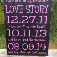 WEDDING Important Date Sign, Love Story, Shabby Chic, Black & White, Bridal Shower Gift , Engagement gift, New Couple gift, Special Dates