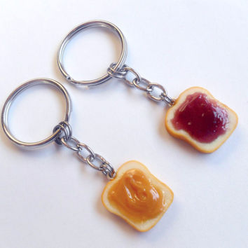 Peanut Butter and Jelly Keychain Set, Grape, Best Friend's Keychains, BFF