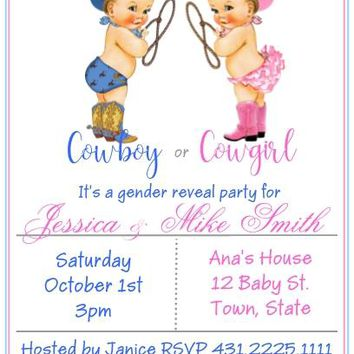 10 Cowboy or Cowgirl Gender Reveal Baby Shower Invitations