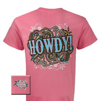 Girlie Girl Originals Cowgirl Howdy Country Pink Bright T Shirt