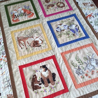 Woodland Animal Quilt, Baby Quilt, Woodland Crib Bedding, Toddler Quilt, Bears, Owls, Rabbits, Foxes, Deer, Hedgehogs- Ready to Ship