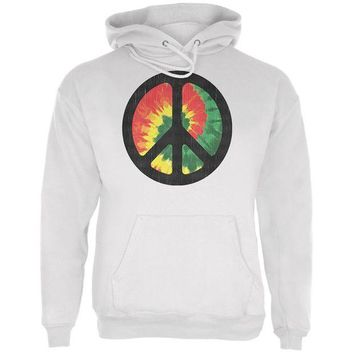 DCCKIS3 Rasta Tie Dye Peace Sign Distressed Halftone Mens Hoodie