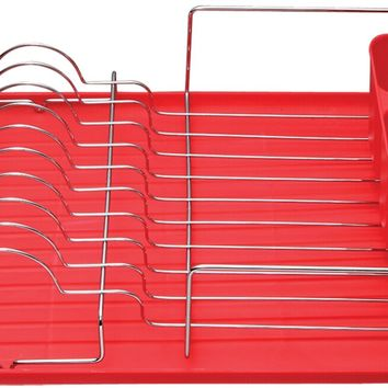 Deluxe Chrome Dish Drainer - Red - CASE OF 6