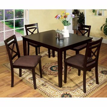 Sophisticated  5Pc Dining Table Set  With Fabric Cushion Chair- Espresso