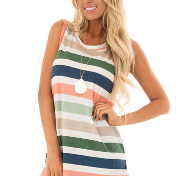 Pine Green and Blush Striped Sleeveless Tunic