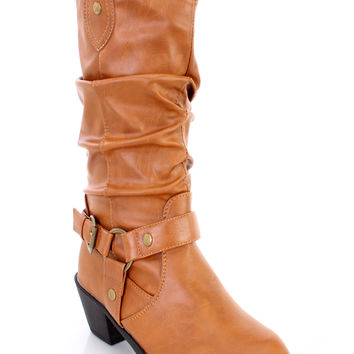 Tan Slouchy Mid Calf Cowboy Boots Faux Leather