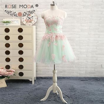 Rose Moda Strapless Green Pink Short Prom Dress Lace Knee Length Prom Dresses Xmas Party Dress 2018