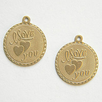 Raw Brass I Love You Charm, Bracelet Charm, Stamping 20m x 22mm - 2 pcs. (r275)