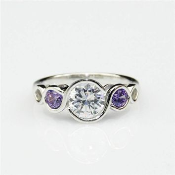 Game of Thrones ARRYN 3 Stone Bezel Set 2ct Esdomera Moissanite Natural Amethyst 14k White Gold Engagement Ring (CFR0831-MS2CT)
