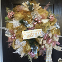 Gold and Pink Mesh Wreath, Christmas Mesh wreath, Elegant Christmas Wreath,Holiday Mesh Wreath, Front Door wreath,Victorian Christmas wreath
