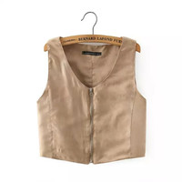 MJ61 Ladies' Faux Suede Leather crop vest coat sleeveless outwear casual slim brand tops
