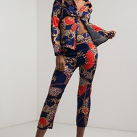 AKIRA High Rise Lightweight Satin Wide Leg Printed Trousers in Print