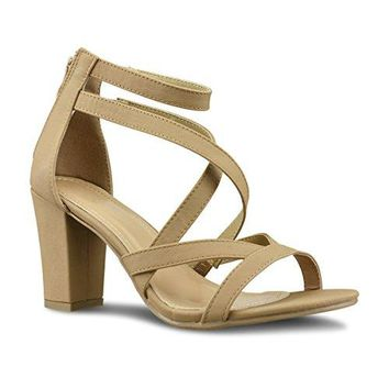 Premier Standard Classified Handle Womens Strappy Open Toe High Chunky Heel  Sexy Stacked Heel Sandal  Cute Strappy Shoe