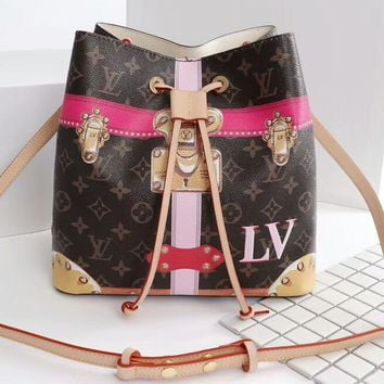 LV Barrels pack Bag Louis Vuitton Women Crossbody More Print Lock Metal Shoulder Bag B-3A-XNRSSNB Coffee