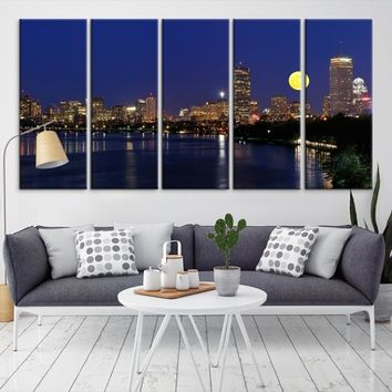 22585 - Boston City Decorative Wall Art Canvas Print - Boston Skyline, Boston, Boston Canvas, Boston Wall Art, Canvas Print, Boston Print, Wall Art,