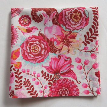 "Easter Hankies / Ladies Hankies / 12"" Pocket Square / Pink Hanky / Foxy Lady Hanky / Pink Hankies / Pink Pocket Square / Handmade Hanky"