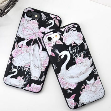 Cartoon White Swan Phone Case For iphone 7 Case  For iphone 7 7 Plus 6s 6 Plus Ballet Shoes Pattern Soft TPU Phone Covers Coque -0327