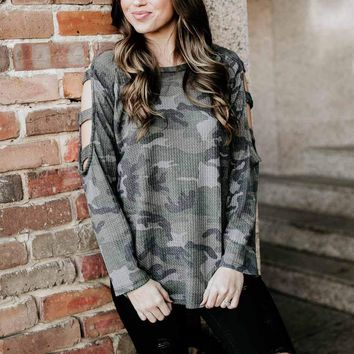 Incognito Camo Cut Out Sleeve Top