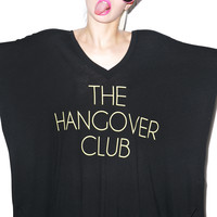 Wildfox Couture Hangover Club Sunday Morning V-neck Tee Clean Black