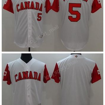 Canada Baseball Jerseys 2017 World Classic 5 Freddie Freeman Jersey Men WBC White Color For Sport Fans Breathable Free Shipping