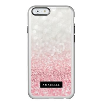 Pink Ombre Glitter and Bokeh Pattern Incipio Feather® Shine iPhone 6 Case