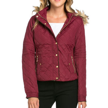 Quilted Padded Puffer Jacket with Faux Fur Hoodie Burgundy