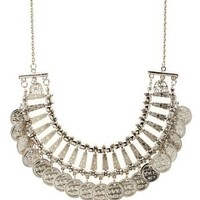 Silver Stamped Coin Statement Necklace by Charlotte Russe
