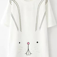 White Short Sleeve Rabbit Print Graphic T-Shirt