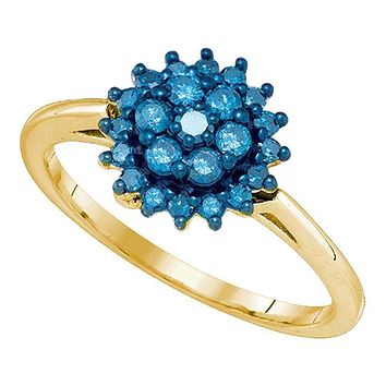 10kt Yellow Gold Women's Round Blue Color Enhanced Diamond Flower Cluster Ring 3/8 Cttw - FREE Shipping (USA/CAN)