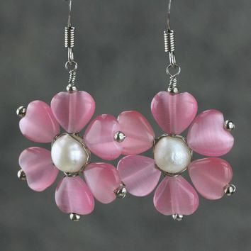 Pearl flower floral beaded drop earrings Bridesmaid gifts Free US Shipping handmade Anni designs