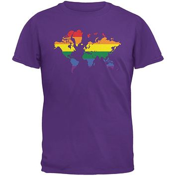 LGBT Rainbow World Map Purple Adult T-Shirt