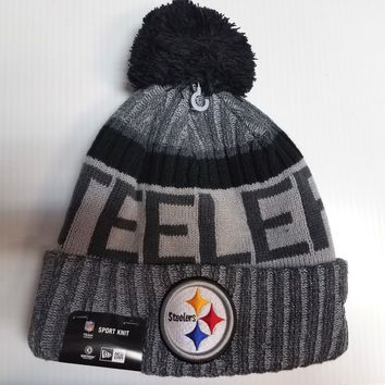 Pittsburgh Steelers New Era Knit Hat Gray 2017 Sideline Beanie Stocking Cap NFL