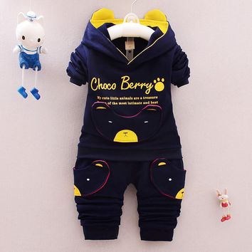 0-4 Designer Children boy Clothing Set 2017 New Brand Spring Antumn Kids Boys Clothes Sets Cute Pig Coat + Pants Cotton 3 colors