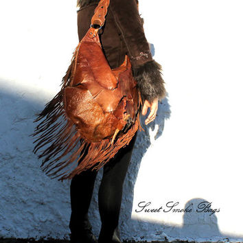 Large tribal rusted brick leather distressed  fringed bag fringe raw tote  hobo tribal drifting wood button oversized elvish asymmetrical