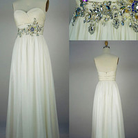 2013 Style A-line Beading Sweetheart Floor-length Chiffon Prom Dresses
