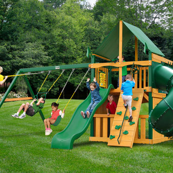 Gorilla Playsets Mountaineer Clubhouse Deluxe Wooden Swing Set