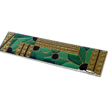Green and Gold Floral Bar Pin , Rectangular Brooch, Green Brooch, Green Jewelry, Flower Brooch, Green and Gold Jewelry, Vintage Enamel Pin