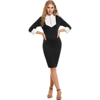 Black Collar Pencil Dress
