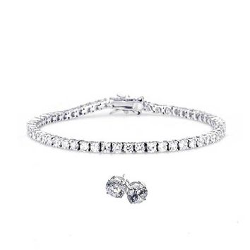 Classic Round Solitaire Cubic Zirconia CZ Thin Prong Set Tennis Bracelet Earring Set For Women 925 Sterling Silver