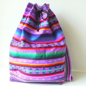 Tribal Fabric Backpack from Latin American Peru by sweetllamasupplies