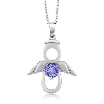 925 Silver Natural Tanzanite Angel Necklace
