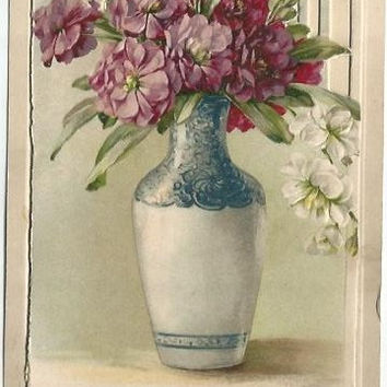 "Antique Novelty Postcards ""A Happy Birthday"" Bouquet of Purple Dianthus White Dianthus 1911 with flip open front and cottage scene"