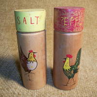 Rooster and Chicken Salt and Pepper Shakers Painted Wood with Decals Vintage 1950's Red and Yellow Country Kitchen Farmhouse Tableware