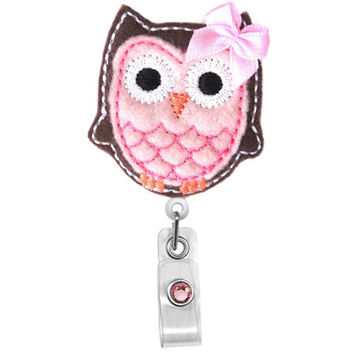 Cute Pink Brown Owl w/ bow-Name Badge Holder-Nurses Badge Holder-Cute Badge Reels - Unique ID Badge Holder - RN Badge Reel