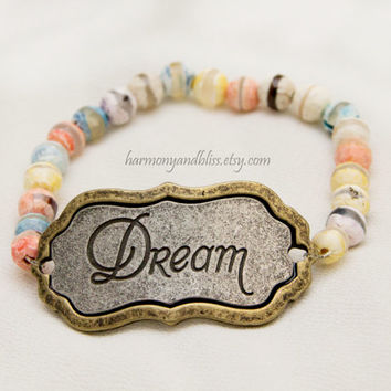 Dream stamped pendant charm words of wisdom stamped statement jewelry faceted agate stone stretch bracelet stackable bracelet